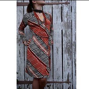 NWOT Calvin Klein geometric wrap dress